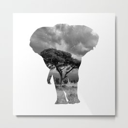 The Elephants in the Nature of Africa Metal Print