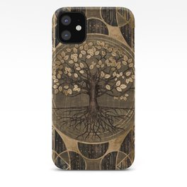Tree of life - Yggdrasil - Wood and Gold iPhone Case
