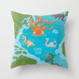 Seamonsters of the Atlantic Ocean Map Throw Pillow