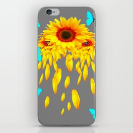 SURREAL BLUE BUTTERFLIES SUNFLOWER PETAL RAIN iPhone Skin
