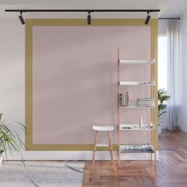 Millennial Pink Solid with Gold Frame - Minimalist Color  Wall Mural