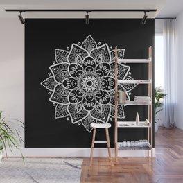 White Mandala On Black Wall Mural