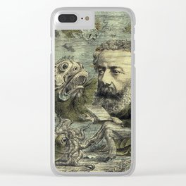 Vintage Jules Verne Periodical Cover Clear iPhone Case