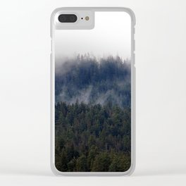Misty Pine Trees Pacific Northwest Clear iPhone Case
