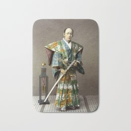 Kusakabe Kimbei - Samurai - Original old vintage retro Photography from Japan Bath Mat