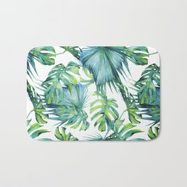 Blue Jungle Leaves, Monstera, Palm #society6 Bath Mat