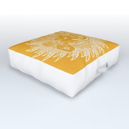 Ganesha Lineart Yellow White Outdoor Floor Cushion