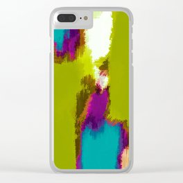 blue pink purple painting abstract with green background Clear iPhone Case