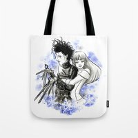 edward scissorhands Tote Bags featuring Edward scissorhands by Sorcière et chocolat