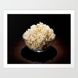 crunchy popcorn in glass bowl Art Print