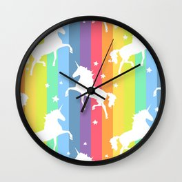 Rainbow Unicorns Wall Clock
