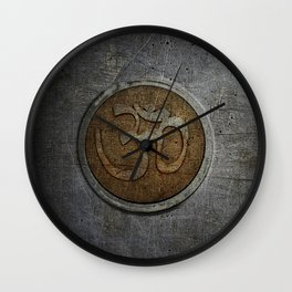 The sound of the Universe. Gold Ohm Sign On Stone Wall Clock