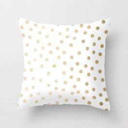 Stylish Gold Polka Dots Throw Pillow