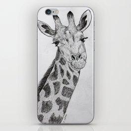 Flirty Giraffe Pencil Portrait iPhone Skin