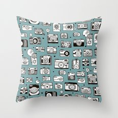 Smile action toy camera vintage photography pattern Throw Pillow