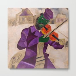 The Green Violinist, France winter scene portrait circa 1924 by Marc Chagall Metal Print