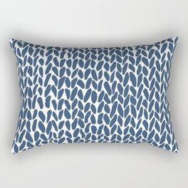 Hand Knit Zoom Navy Rectangular Pillow
