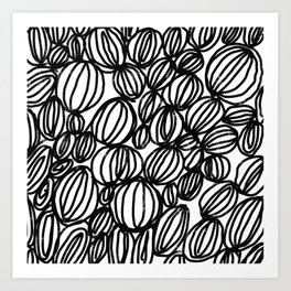 Loop black and white minimalist abstract painting mark making art print Art Print