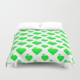 Crown Heart Pattern Green Duvet Cover