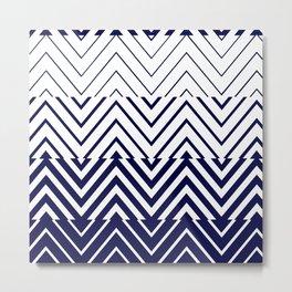 Chevron Ombre Stencil | navy white Metal Print