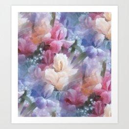 Sweet watercolor irises Art Print