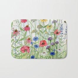 Watercolor of Garden Flower Medley Bath Mat