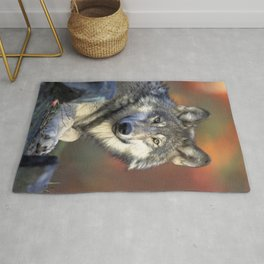 Wolf in the Woods Hunting Rug