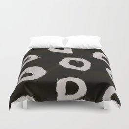 Round, Abstract, White & Black Duvet Cover