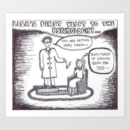 Psychologist cartoon Art Print