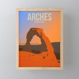 Arches National Park - Travel Poster -  Minimalist Art Print Framed Mini Art Print