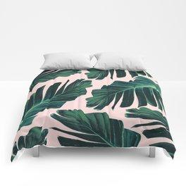 Tropical Blush Banana Leaves Dream #1 #decor #art #society6 Comforters
