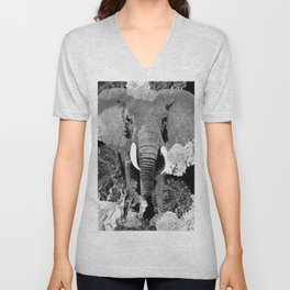 ELEPHANT AND CABBAGE ROSES IN BLACK AND WHITE Unisex V-Neck