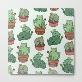 Cacti Cat pattern Metal Print