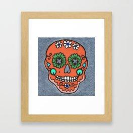 Dia De Los Muertos Mexican Sugar Skull Orange Framed Art Print