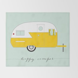 Yellow Happy Camper Throw Blanket