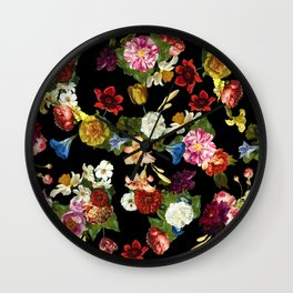 Flowery (black version) Wall Clock