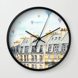 Architecture Paris and air balloon watercolor Wall Clock
