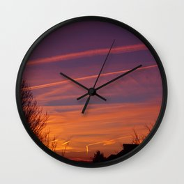 Neon Chemtrails Wall Clock