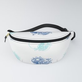 Blue and White Pomegranate Design Fanny Pack