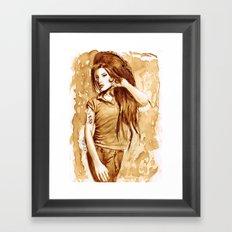 A little Amy in my coffee Framed Art Print