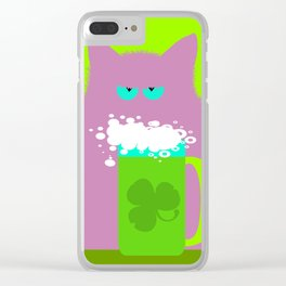 Saint Patrick's Day Lilac Cat Clear iPhone Case
