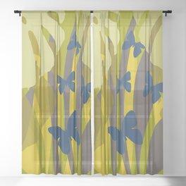 Monstera yellow butterflies blue Sheer Curtain