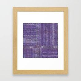 Tribal Ethnic pattern silver on  purple Framed Art Print