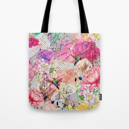 Nature flowery geometric with birds Tote Bag