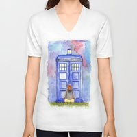 amy pond V-neck T-shirts featuring Come along, Pond by Kate Trozzi