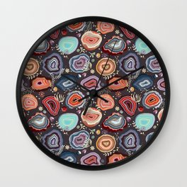 Colorful agates Wall Clock