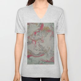 Pink and Gold Marble Print Unisex V-Neck