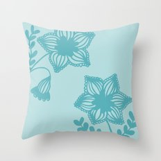 Floral silhouette blue  Throw Pillow