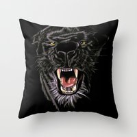 panther Throw Pillows featuring Panther by Tish