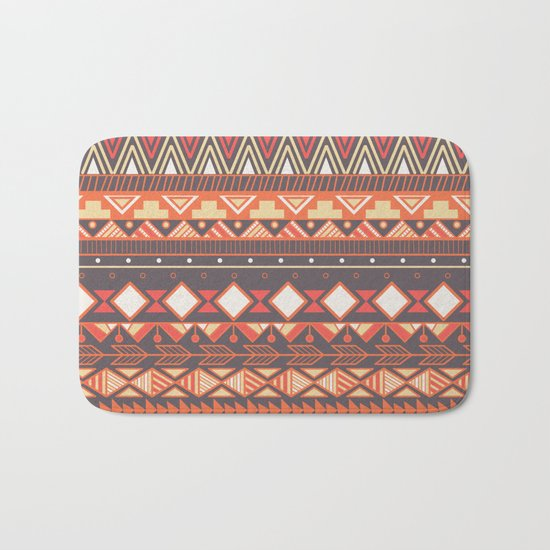Aztec tribal pattern in stripes, vector illustration Bath Mat